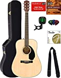 Fender CD-60S Solid Top Dreadnought Acoustic Guitar - Natural Bundle with Hard Case, Tuner, Strap,...