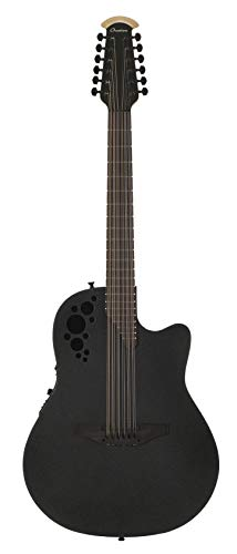 Ovation Mod TX Collection 12-String Acoustic-Electric Guitar, Textured Black, Deep Contour Body...