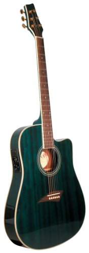 Kona K2TBL Acoustic Electric Dreadnought Cutaway Guitar in Transparent Blue Finish