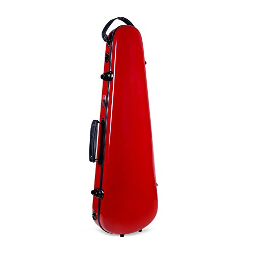 Crossrock CRF1000VRD Fiberglass Violin Case, 4/4 Full Size, Backpack Style, Red
