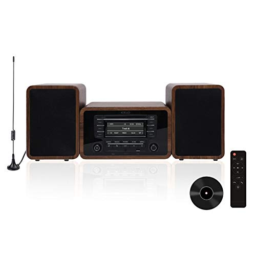 KEiiD Stereo Shelf System Powered with Bookshelf Speakers RMS 2X 25W for Home Audio Entertainment...