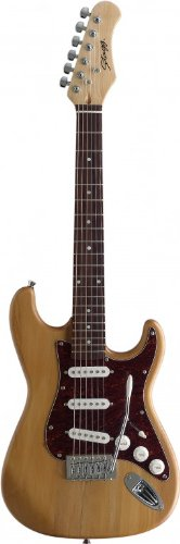 Stagg S300 3/4-Size NS Standard S 6-String Electric Guitar with Solid Alder Body - Natural
