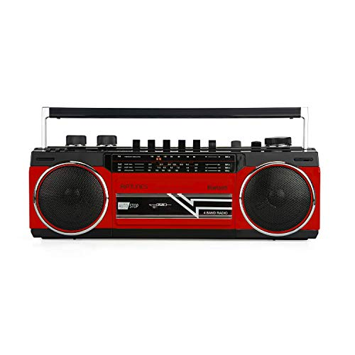Riptunes Cassette Boombox, Retro Blueooth Boombox, Cassette Player and Recorder, AM/FM/SW-1-SW2...