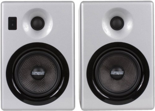 Earthquake Sound IQ52S iPod Docking Speaker System (Silver Piano Gloss, Pair)