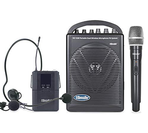 Hisonic HS122B-HL Rechargeable & Portable PA (Public Address) System with Built-in Dual UHF Wireless...