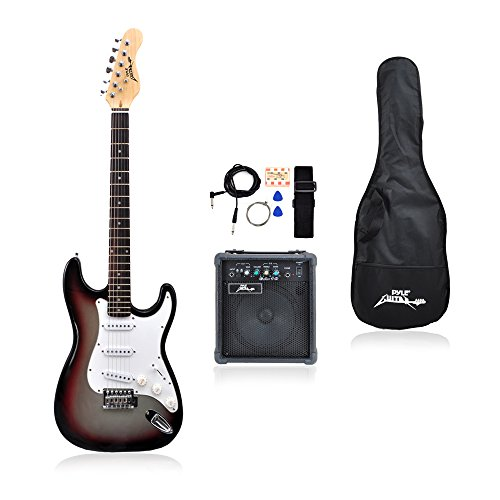 PylePro Full Size Electric Guitar Package w/Amp, Guitar Bundle, Case & Accessories, Electric Guitar...
