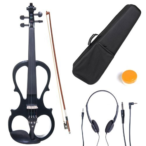 Cecilio CEVN-1BK Style 1 Silent Electric Solid Wood Violin with Ebony Fittings in Metallic Black,...