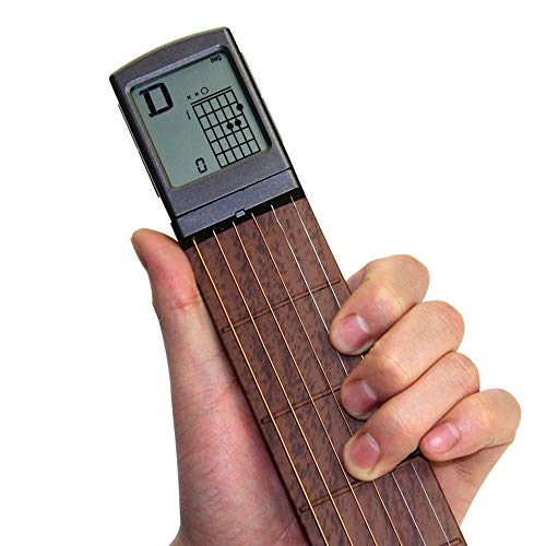 Pocket Guitar Chord Practice Tool, Portable Guitar Neck for Trainer Beginner w/ a Rotatable Chords...