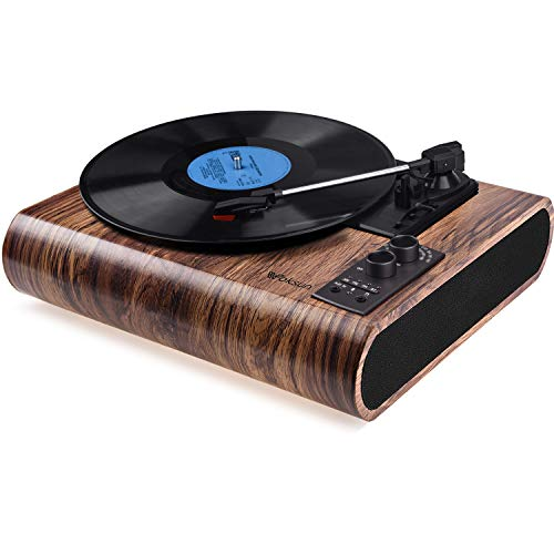 Record Player, VOKSUN Vintage Turntable 3-Speed Bluetooth Vinyl Player LP Record Player with...