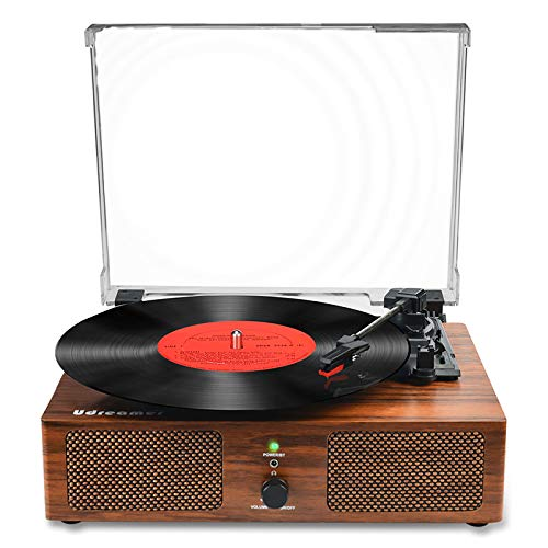 Vinyl Record Player Bluetooth Turntable with Built-in Speakers and USB Belt-Driven Vintage...
