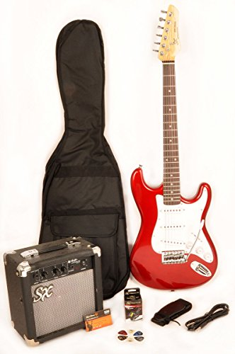 3/4 Size Electric Guitar Package Beginner Red with Amp, Carry Bag , Strap and Cord  SX RST 3/4 CAR