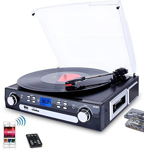 DIGITNOW Bluetooth Record Player with Stereo Speakers, Turntable for Vinyl to MP3 with Cassette...