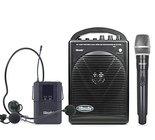 Hisonic HS122BT-HL Portable and Rechargeable PA System with Dual UHF Wireless Microphones &...
