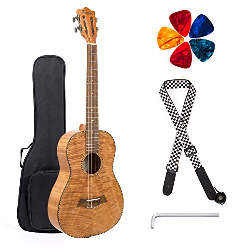 Classical Ukulele Kit Tiger Flame Okoume Wood for Beginner and Professional Player By Kmise (30 Inch...