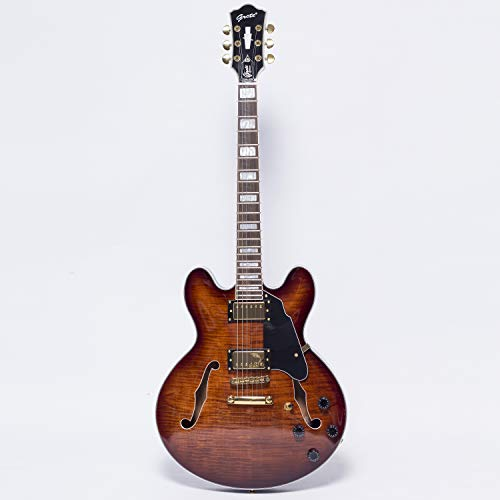 GROTE Jazz Electric Guitar Flame Maple top Semi-Hollow Body Gold Hardware (brown)