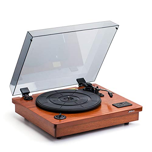 HOFEINZ Vintage Style Natural Wood Belt Driven Record Player with 3 Speed Built in Stereo Speakers,...
