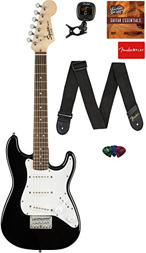 Fender Squier 3/4 Size Kids Mini Strat Electric Guitar Learn-to-Play Bundle with Tuner, Strap,...