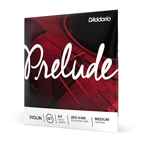 D'Addario Prelude Violin String Set, 4/4 Scale Medium Tension – Solid Steel Core, Warm Tone,...