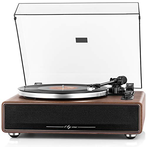 1 BY ONE High Fidelity Belt Drive Turntable with Built-in Speakers, Vinyl Record Player with...