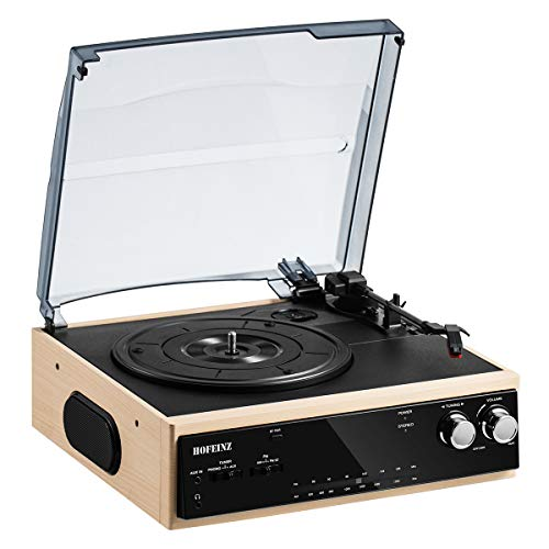 HOFEINZ Vintage Wireless Bluetooth Out Wooden Belt Driven 3 Speed Turntable with Built in Stereo...