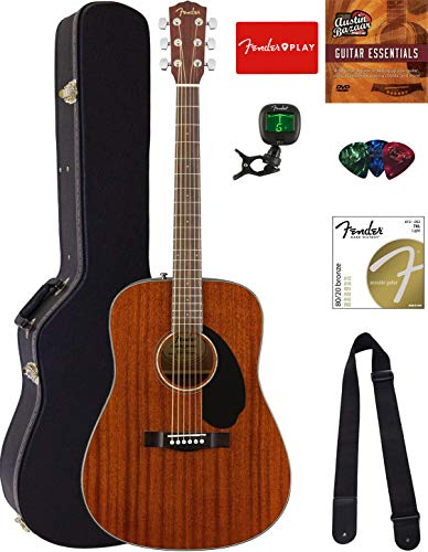 Fender CD-60S Solid Top Dreadnought Acoustic Guitar - All Mahogany Bundle with Hard Case, Tuner,...