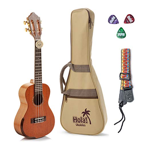Tenor Ukulele Professional Series by Hola! Music (Model HM-427SMM+), Bundle Includes: 27 Inch SOLID...