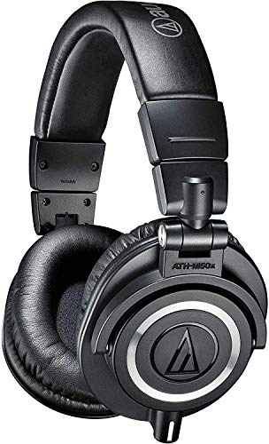 Audio-Technica ATH-M50x Professional Studio Monitor Headphones, Black, Professional Grade,...