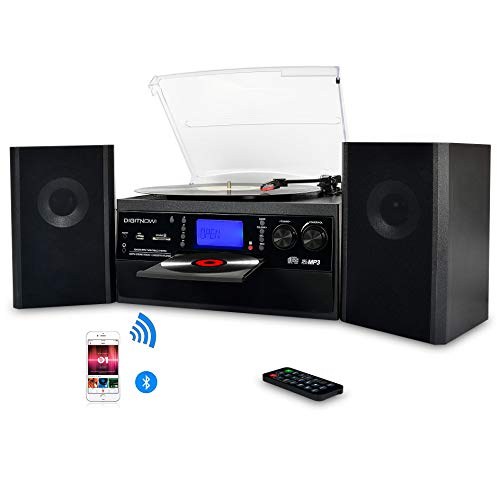 DIGITNOW Bluetooth Record Player Turntable with Stereo Speaker, LP Vinyl to MP3 Converter with CD,...