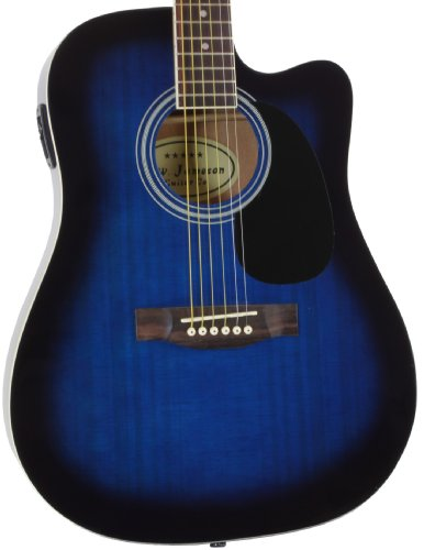 Jameson Guitars Full Size Thinline Acoustic Electric Guitar with Free Gig Bag Case & Picks Blue...