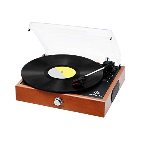 Vinyl Record Player, JORLAI Vintage Turntable 3-Speed Record Player with Speakers, MP3 Recording,...