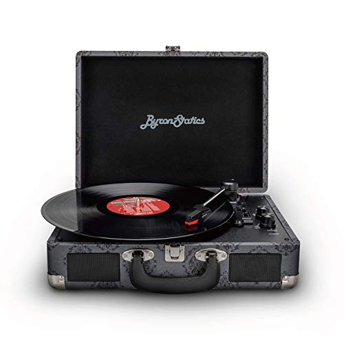 Byron Statics Vinyl Record Player, 3 Speed Turntable Bluetooth Record Player with 2 Built in Stereo...