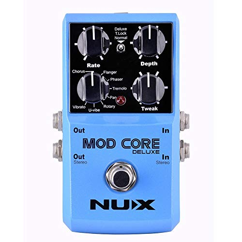 NUX MOD Core DELUXE Chorus/Flanger/Phaser/Rotary Guitar Effect Pedal 8 Modulation Effects Preset...