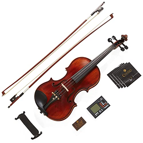 Mendini By Cecilio Violin - MV500+92D - Size 4/4 (Full Size), Black Solid Wood - Flamed, 1-Piece...