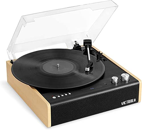 Victrola Eastwood 3-Speed Bluetooth Turntable with Built-in Speakers and Dust Cover | Upgraded...