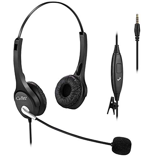 Callez 3.5mm Cell Phone Headset Dual, Corded Truck Driver Headsets with Microphone Noise Canceling...