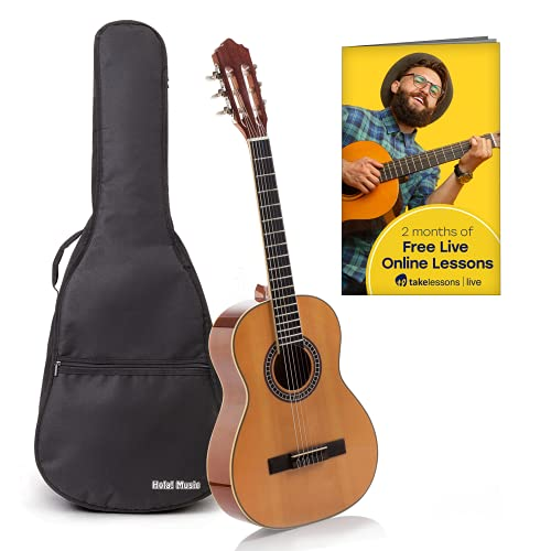 Classical Guitar with Soft Nylon Strings by Hola! Music, Junior 3/4 Size 36 Inch Model HG-36GLS,...