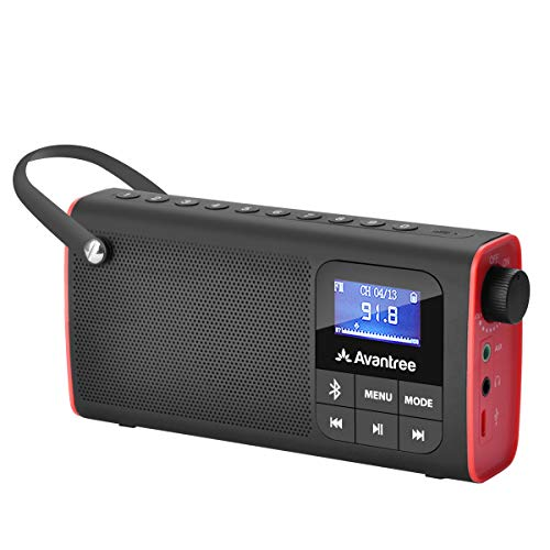 Avantree SP850 Rechargeable Portable FM Radio with Bluetooth Speaker and SD Card MP3 Player 3-in-1,...