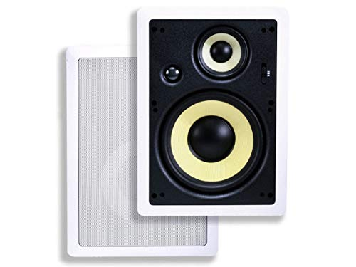 Monoprice 3-Way Fiber In-Wall Speakers - 8 Inch (Pair) With Removable And Paintable Grille - Caliber...