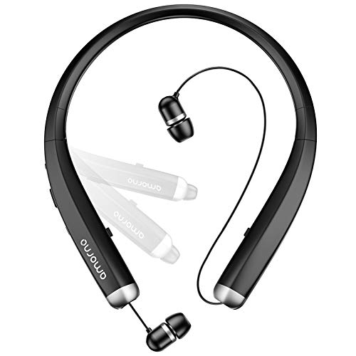Bluetooth Headphones, AMORNO Foldable Wireless Neckband Headset with Retractable Earbuds, Sports...