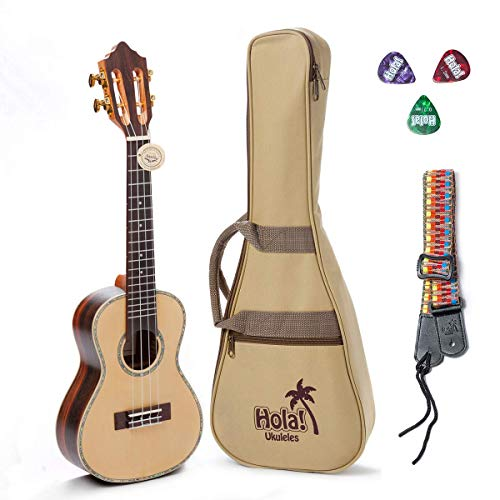Concert Ukulele Professional Series by Hola! Music (Model HM-424SSR+), Bundle Includes: 24 Inch...