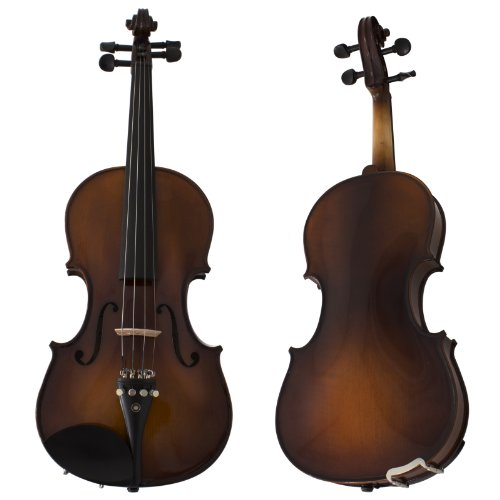 Cecilio CVN-EAV Ebony Fitted Solidwood Violin in Varnish Antique with Deluxe Oblong Hard Case Size...
