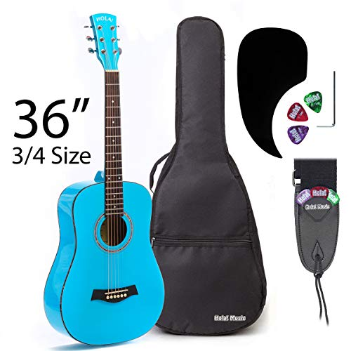 3/4 Size (36 Inch) Acoustic Guitar Bundle Junior/Travel Series by Hola! Music with D'Addario EXP16...