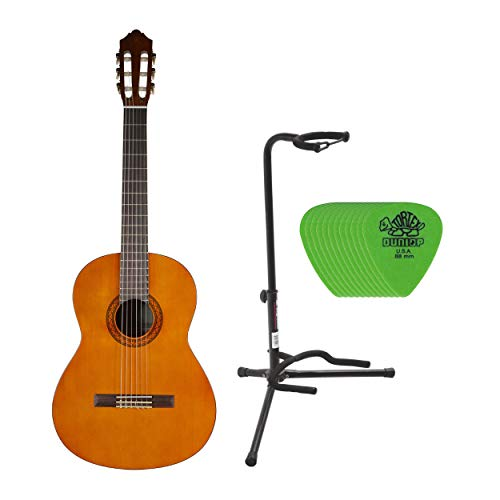 Yamaha C40 Gigmaker Classic Guitar Package with Tripod Stand and 12 Guitar Picks Bundle (3 items)