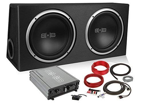 Belva 1000 watt Complete Car Subwoofer Package Includes Two (2) 10-inch Subwoofers in Ported Box,...