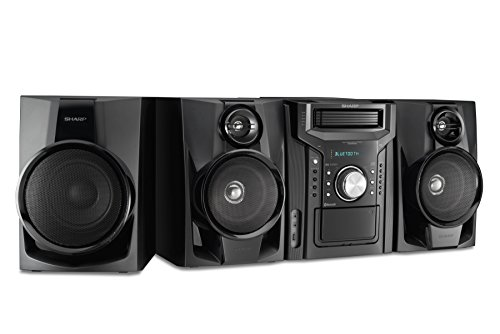 Sharp CD-BHS1050 350W 5-Disc Mini Shelf Speaker/Subwoofer System with Cassette and Bluetooth, AM/FM...