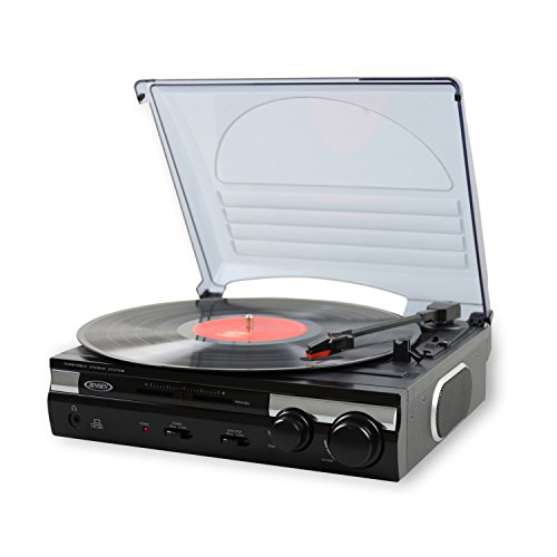 Jensen JTA-230 3 Speed Stereo Turntable with Built in Speakers, Aux in, Vinyl to MP3...