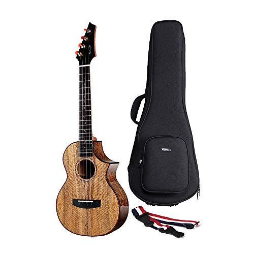 Enya Electric Acoustic 26 inch Tenor Ukulele with Pickup 5A Solid Mango Wood Ukulele with Padded...