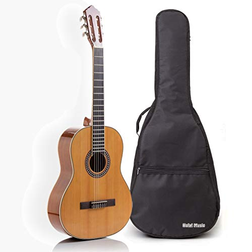 Classical Guitar with Soft Nylon Strings by Hola! Music, Full Size 39 Inch Model HG-39GLS, Natural...