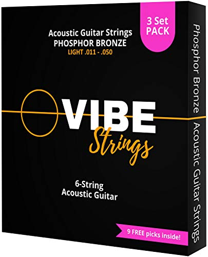 VIBE Strings Phosphor Bronze Acoustic Guitar Strings, Heavy (.013-.058), 1 Set
