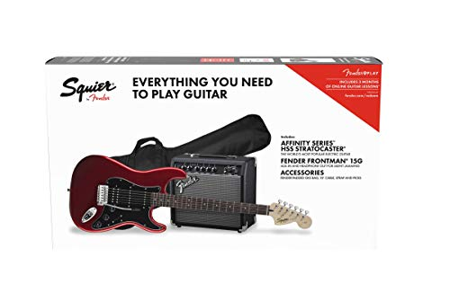 Squier by Fender Affinity Stratocaster Beginner Pack, Laurel Fingerboard, Candy Apple Red, with Gig...
